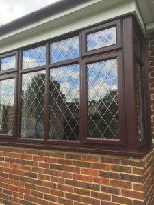 PVC-ROSEWOOD-BAY WINDOW -WITH-DIAMOND-LEADS