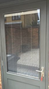 back door with internal blinds