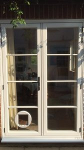 french doors with cat flap